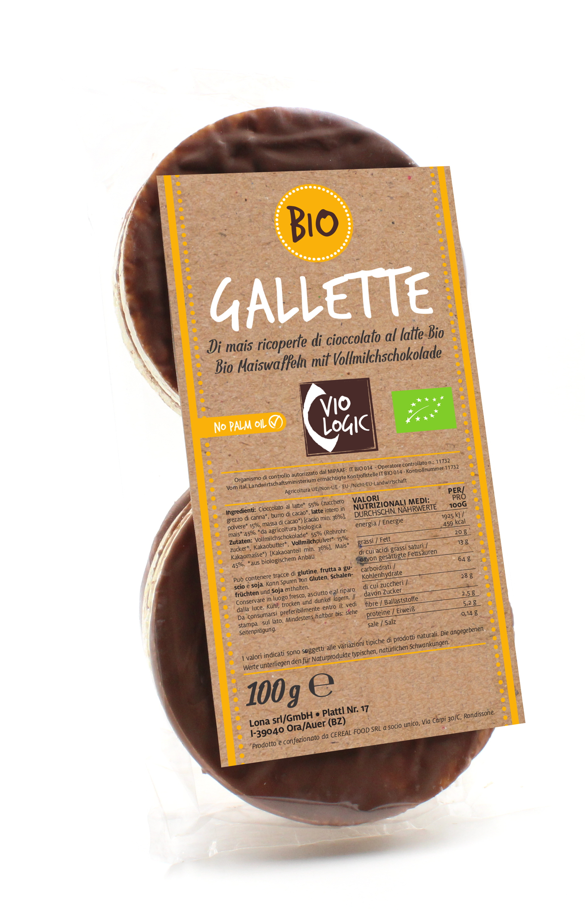 Bio Maiswaffeln mit Vollmilchschokolade 100g