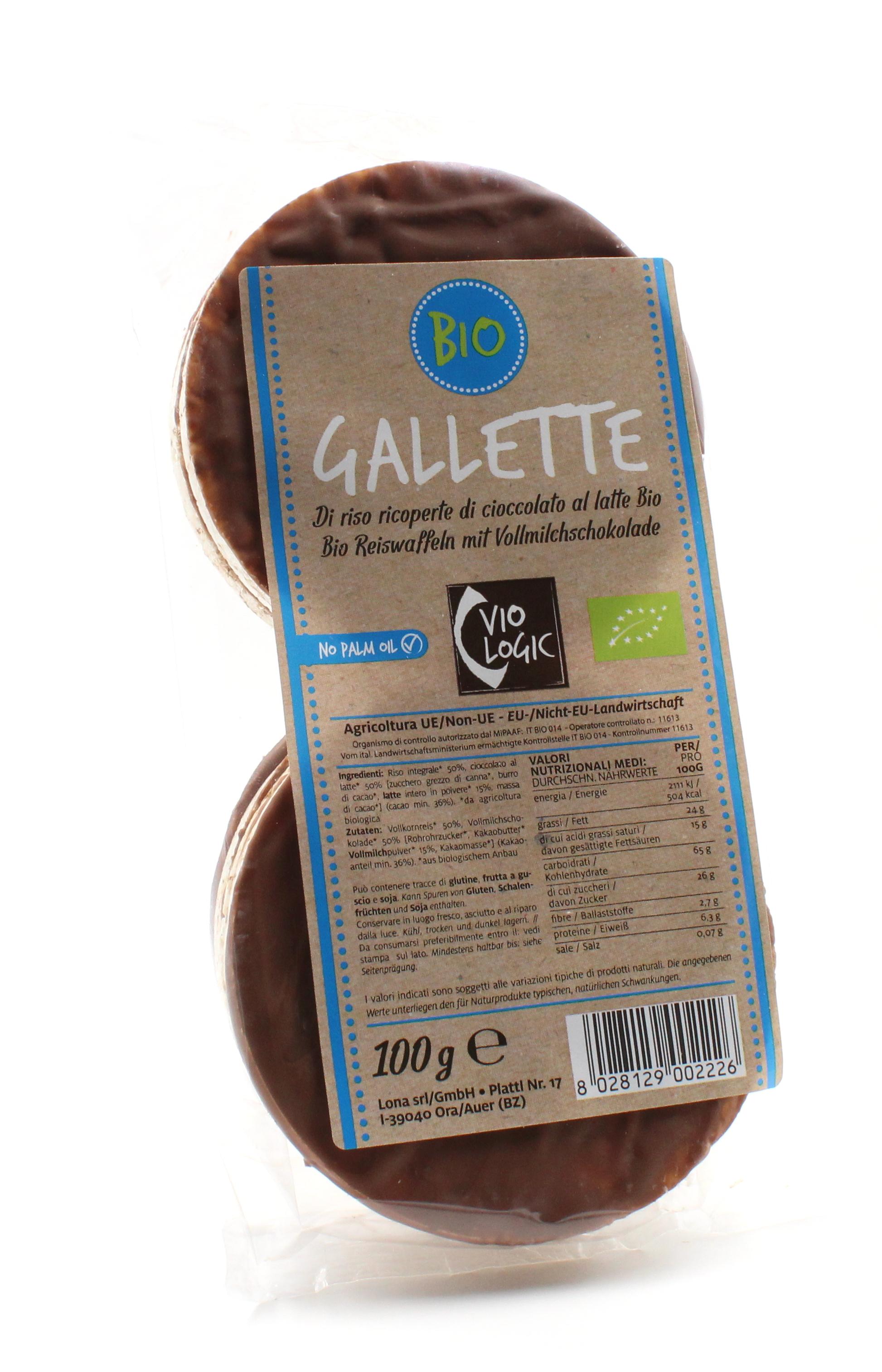 Bio Reiswaffeln mit Vollmilchschokolade 100g